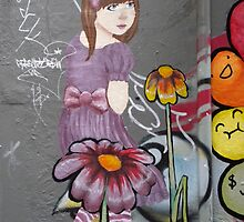 lost little girl?  Melbourne street art by kabykaby
