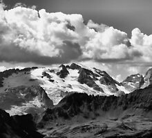 Dolomiti cloudy glacier on black and white by Francesco Malpensi