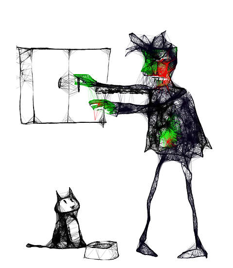 Brian the zombie remembers to feed the cat by Matt Mawson