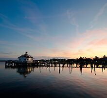 Roanoke Marshes Lighthouse At Dusk II by David K. Sutton