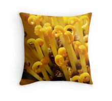 stamens from a yellow flower Throw Pillow