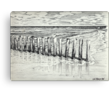 THE NORTH SEA BEACH - PEN DRAWING Canvas Print