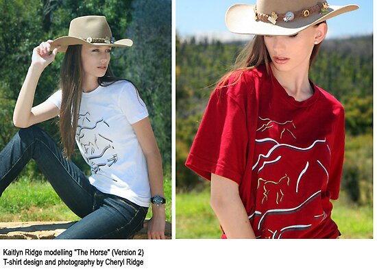 The Horse (Version 2) - T shirt by Cheryl Ridge