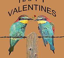 HAPPY VALENTINES DAY bee- eaters by Eric Kempson