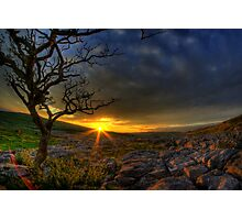 Sunset over limestone pavement, Malham Photographic Print