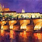 Prague Night Panorama Charles Bridge by Yuriy Shevchuk