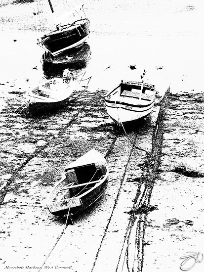 Low-Tide Boats - Mousehole Harbour, West Cornwall by newshamwest
