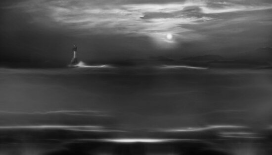 Twilight Moon (bw) by John Poon