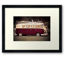 Camper van Surfs up Framed Print