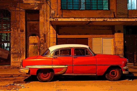 Classic Red American car at Dawn, Havana, Cuba by buttonpresser