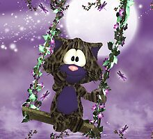 Cute Purple Valentine's Cat On Swing by Moonlake