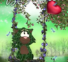 Cute Green Cat Valentine's Day Card - Cat On Swing by Moonlake