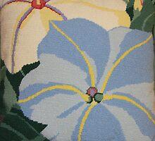 Tropical Blue Flowers by daphsam