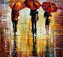 Three Red Umbrellas - original oil painting on canvas by Leonid Afremov by Leonid  Afremov