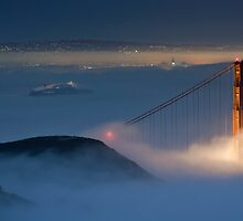 Golden Gate Behind the Gauzy Moonlit Fog by salim madjd