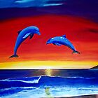 Masters of the Sea - Dolphins at sunset Acrylic Painting by Rick Short