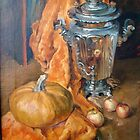 Still Life with Orange Drapery by Alla Melnichenko