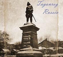 Monument Tsar Peter The Great in Taganrog, Russia. Peter The Great founded Taganrog and St. Petersburg.Vintage card. by Vitta