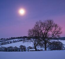 Moon over the Chilterns by photontrappist