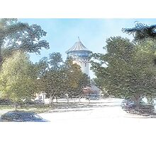 Summer Water Tower, Riverside, Illinois Photographic Print