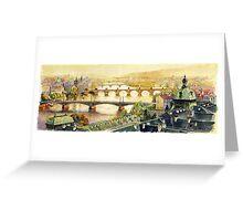 Panorama Prague Briges Greeting Card