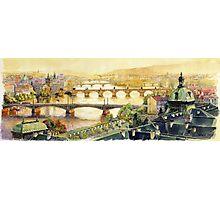 Panorama Prague Briges Photographic Print