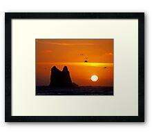 sunset activity at 'the notch', la push, washington, usa Framed Print