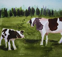 Vermont Cow with Calf by donnawalsh