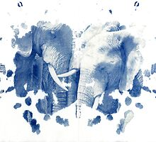rorschach, elephants - cyanotype print by iannarinoimages