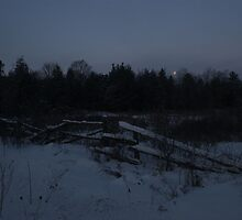 Moon Setting on a January Morning by Allen Lucas