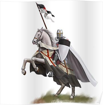 Templar on Rearing Horse (digitally coloured) by dashinvaine