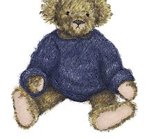 Teddy Bear with Blue Jumper by Amanda Latchmore