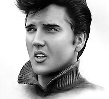 Elvis drawing by John Harding