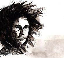 Wind-swept woman by Sally O'Dell