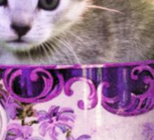 Caffeine Cat - kitten clothes & stickers Sticker