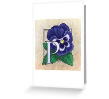P is for Pansy Greeting Card
