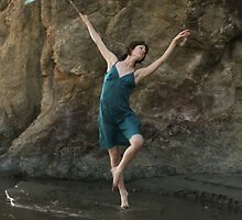 Dancer with Blue Parasol at Mendocino Beach by Denice Breaux