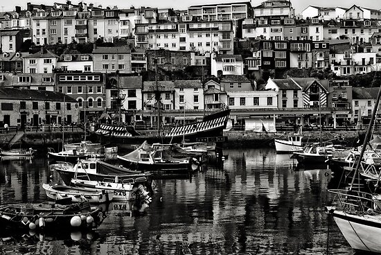 Brixham Harbour Mono by ajgosling