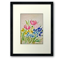 Tulip, Daffodil, Pansy, and Grape Hyacinth Spring Bouquet Framed Print