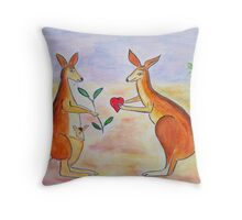 Adorable Kangaroos in love Throw Pillow