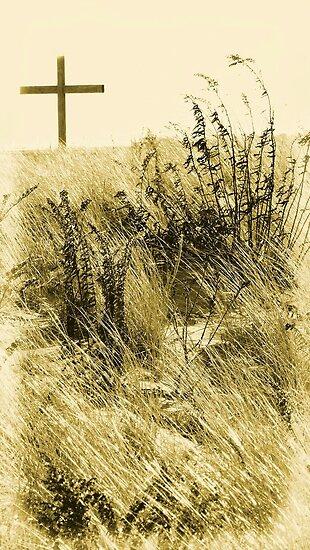 #544   Wooden Cross On A Sandy Hill by MyInnereyeMike