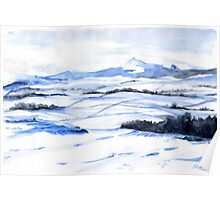 Snow on Bennachie Poster