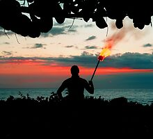 Samoan head man comes out to greet us. by Lee Gunderson