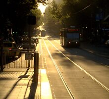 Dusk on the tram tracks by JennyWilson