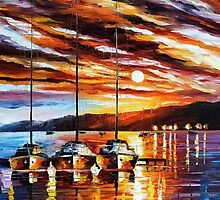Yachts - original oil painting on canvas by Leonid Afremov by Leonid  Afremov