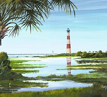 Morris Island Lighthouse w/ Palmetto by Matthew Campbell
