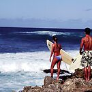 Oahu surfers, North Shore by Lee Gunderson