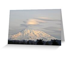 Lenticular Clouds over Mount Rainier Greeting Card
