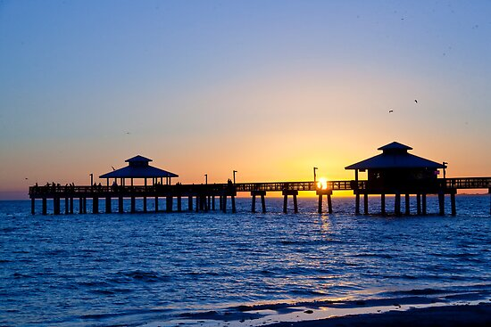 Fort myers beach fishing pier by phil decocco redbubble for Fort myers beach fishing pier