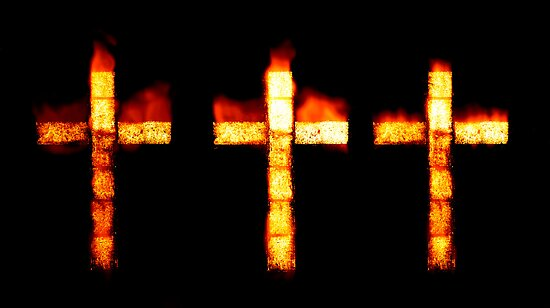 Burning Faith - Crosses of Fire by clearviewstock